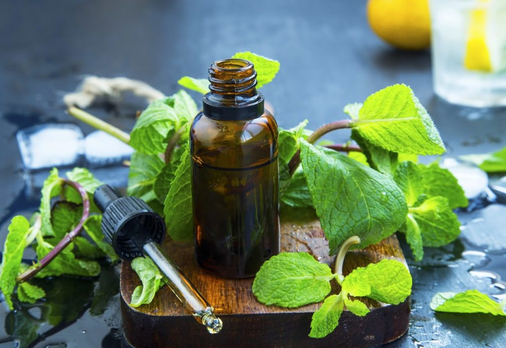 Fresh peppermint sprigs lying on a wooden cutting board next to a glass bottle and dropper.